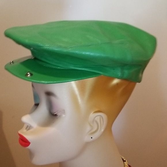 💯60's APPLE Green Leather UNION Cabby Newsboy CAP